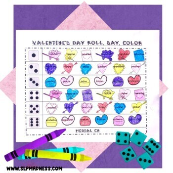 Valentine's Day Articulation Roll Say Color - Sound Practice Speech Therapy