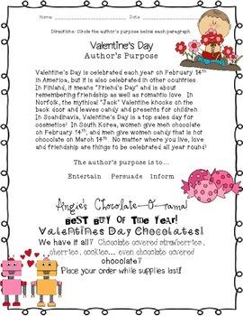 Valentine's Day: Author's Purpose