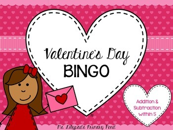 Valentine's Day Math BINGO for Kindergarten {Addition, Subtraction, Subitizing}