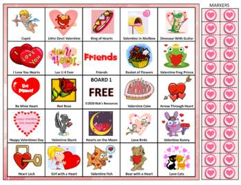 Valentine Math, Language, Bingo Activities