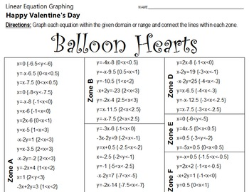 Valentine's Day - Balloon Hearts - A Linear Equation Graphing Activity