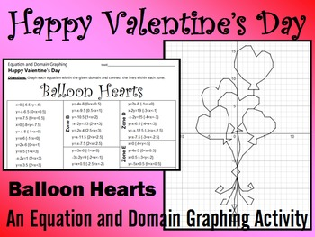 Valentine's Day - Balloon Hearts - A Linear Equation Graph