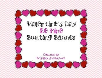 "Valentine's Day Pennant Banner ""Be Mine"""