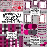 Valentine's Day Basic Clip Art Mini-Bundle ~ Papers, Frame