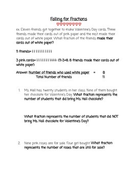 Valentine's Day Basic Fraction Word Problems