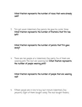 Valentine's Day Basic Fraction Word Problems