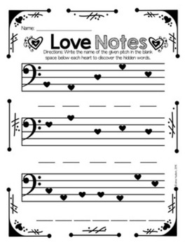 Valentine's Day Bass Clef Flipbooks
