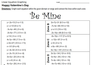 Valentine's Day - Be Mine - A Linear Equation Graphing Activity