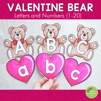 Valentines Day Bear and Heart Letter and Number Cards