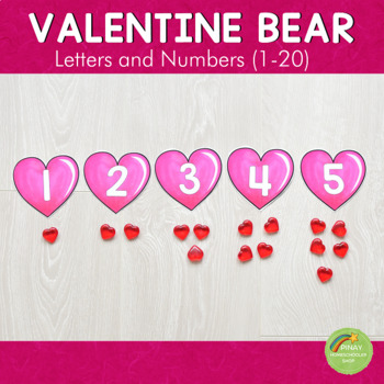 Valentine'ss Day  Bear and Heart Letter and Number Cards