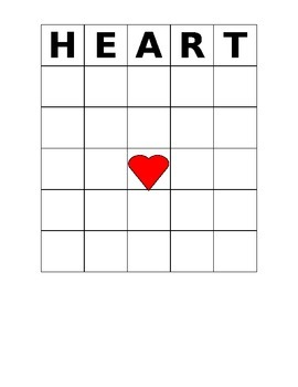 Valentine's Day Bingo Game HEART