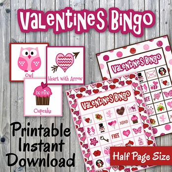 Valentines Day Bingo Cards and Memory Game - Printable - Up to 30 players