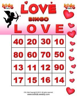 Valentines Day Bingo Game