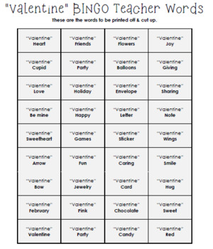 Valentine's Day Bingo Game Activity