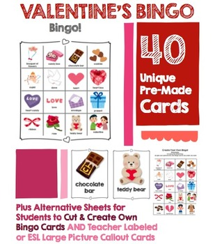 Valentine's Day Bingo Game Pack: 40 Cards, Plus Create-Your-Own Sheets