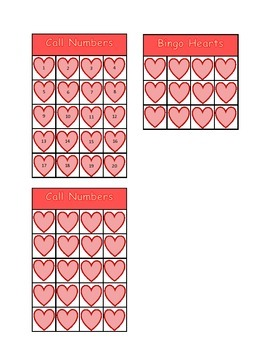 Valentine Heart Bingo Numbers 1-20