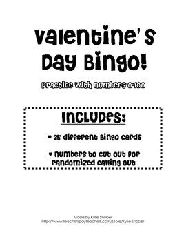 Valentine's Day Bingo Numbers 0-100