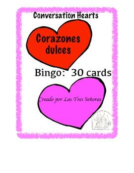 Valentine's Day Bingo- Spanish Conversation Hearts