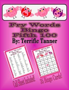 Valentine's Day Bingo with Fry's Fifth 100 Words