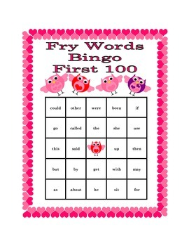 Valentine's Day Bingo with Fry's First 100 Words