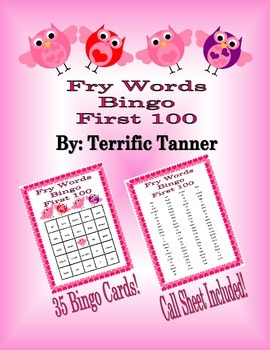 Valentine's Day Bingo with Fry's First 100 Words