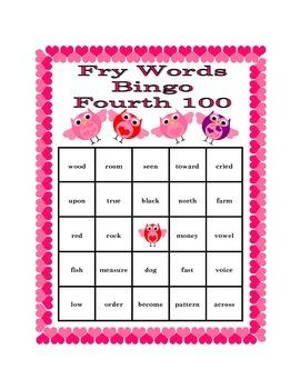 Valentine's Day Bingo with Fry's Fourth 100 Words