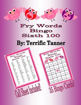 Valentine's Day Bingo with Fry's Sixth 100 Words
