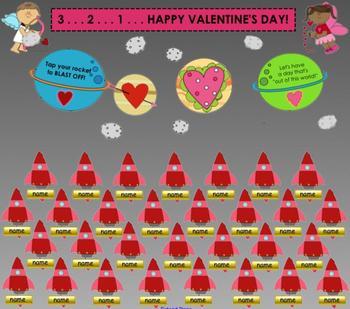 """""""Valentine's Day Blast Off"""" SMART Board Attendance Activity w/ Sound & Animation"""
