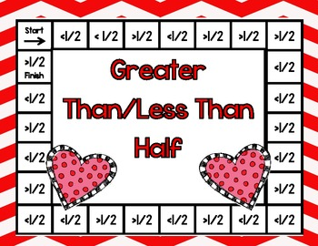 Valentine's Day Board Game-Greater Than/Less Than Half