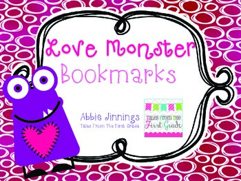 Valentine's Day Bookmarks-Love Monsters