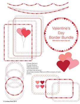 Valentines Day Border Pack + Bonus Heart Clipart!