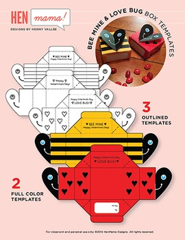 Valentine's Day Box Templates & Gift Tags (Love Bug & Bee Mine)