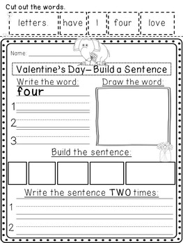 Valentine's Day Build a Sentence Pack