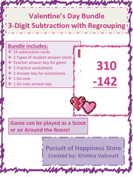 Valentine's Day Bundle - 3 Digit Subtraction with Regrouping