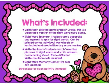 Valentine's Day Bundle - CVC Real/Nonsense Word Sort and Sight Word Activities