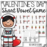 Valentine's Day CVC Short Vowel Game for Reading Fluency