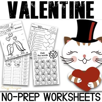 Valentine Literacy (NO PREP) - CVC Word Work
