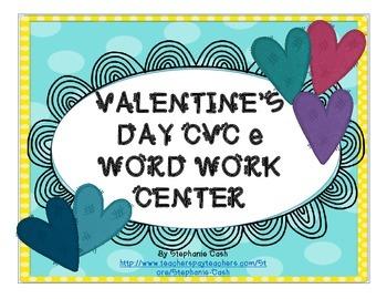 Valentine's Day CVC-e Literacy Center Word Work sorting pr