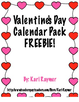 Valentine's Day Calendar Pack FREEBIE!