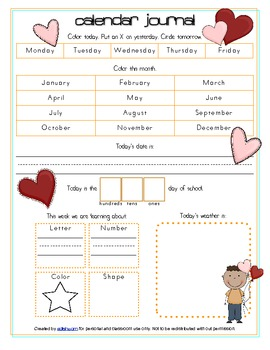 Valentine's Day Calendar/Circle Time Journal Sheet
