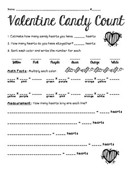 Valentine's Day Candy Heart Activity 4th grade {NEW}