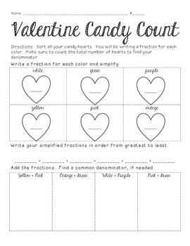 Valentine's Day Candy Heart Activity 5th-6th