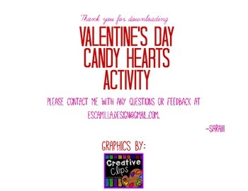 Valentine's Day Candy Hearts FREEBIE