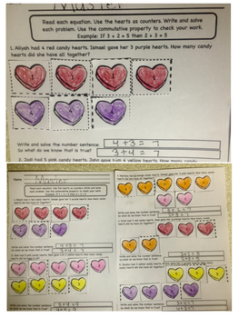 Valentines Day Candy Hearts Addition Story Problems with counters