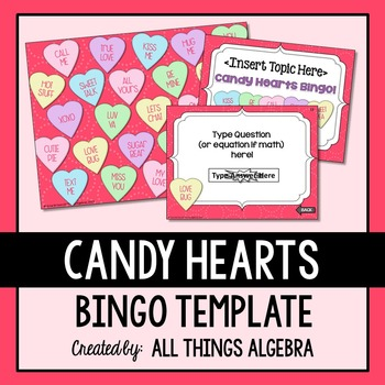 Bingo Game Template: Valentine's Day Candy Hearts