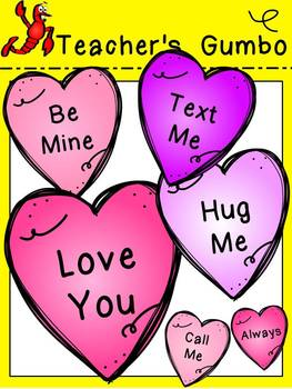Valentine's Day Candy Hearts and Frames Clipart