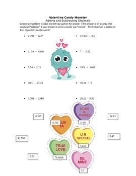 Valentines Day Candy Monsters (Add/Subt Decimals)
