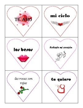 Spanish Valentine's Day Card Activity
