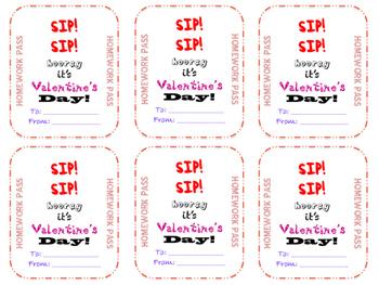 Valentines Day Card Homework Pass