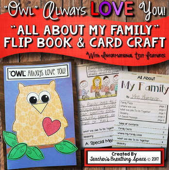 """Valentine's Day Card For Parents --- """"All About My Family"""" Flip Book"""